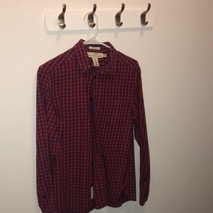 H&M Red and Blue Checkered Casual Button Down